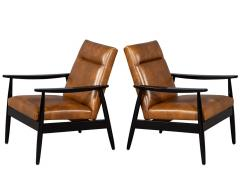 Carrocel Interiors Pair of Custom Mid Century Modern Style Leather Accent Chairs - 1739558