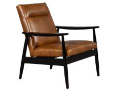 Carrocel Interiors Pair of Custom Mid Century Modern Style Leather Accent Chairs - 1739559