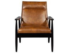 Carrocel Interiors Pair of Custom Mid Century Modern Style Leather Accent Chairs - 1739560
