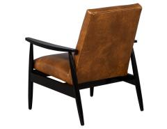 Carrocel Interiors Pair of Custom Mid Century Modern Style Leather Accent Chairs - 1739561