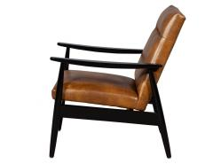 Carrocel Interiors Pair of Custom Mid Century Modern Style Leather Accent Chairs - 1739562