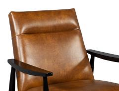 Carrocel Interiors Pair of Custom Mid Century Modern Style Leather Accent Chairs - 1739563