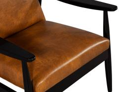 Carrocel Interiors Pair of Custom Mid Century Modern Style Leather Accent Chairs - 1739564