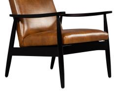 Carrocel Interiors Pair of Custom Mid Century Modern Style Leather Accent Chairs - 1739565