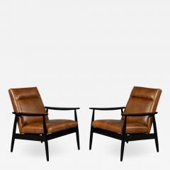 Carrocel Interiors Pair of Custom Mid Century Modern Style Leather Accent Chairs - 1740919