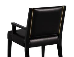 Carrocel Interiors Set of 10 Custom Modern Black Leather Dining Chairs with Brass Detailing - 1800163