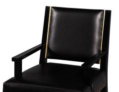 Carrocel Interiors Set of 10 Custom Modern Black Leather Dining Chairs with Brass Detailing - 1800164
