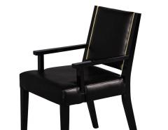 Carrocel Interiors Set of 10 Custom Modern Black Leather Dining Chairs with Brass Detailing - 1800165
