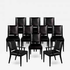 Carrocel Interiors Set of 10 Custom Modern Black Leather Dining Chairs with Brass Detailing - 1802489