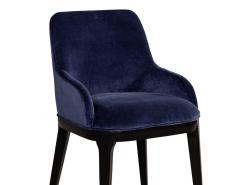 Carrocel Interiors Set of 10 Custom Navy Velvet Modern Dining Chairs - 1656123