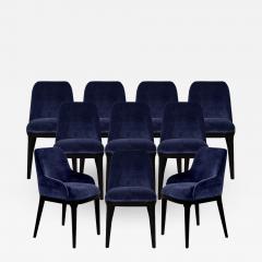 Carrocel Interiors Set of 10 Custom Navy Velvet Modern Dining Chairs - 1656559