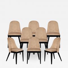 Carrocel Interiors Set of 8 Custom Modern Dining Chairs in Tan Velvet by Carrocel - 1740927