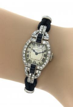 Cartier 1920s Cartier Paris Art Deco Diamond Onyx Wristwatch - 358310