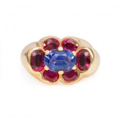 Cartier 1940s Cartier Paris Gold Ruby and Sapphire Cluster Ring - 1088316