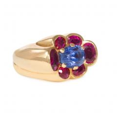 Cartier 1940s Cartier Paris Gold Ruby and Sapphire Cluster Ring - 1088317