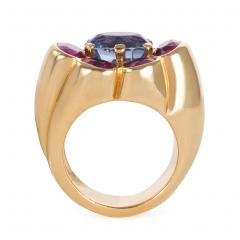 Cartier 1940s Cartier Paris Gold Ruby and Sapphire Cluster Ring - 1088318