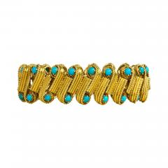 Cartier 1950s Cartier Gold and Turquoise Bracelet - 665932
