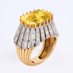 Cartier 1950s Yellow Sapphire and Diamond Ring by Cartier Paris - 1047276