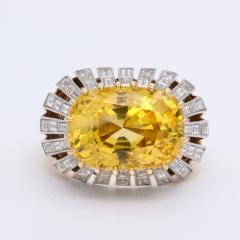 Cartier 1950s Yellow Sapphire and Diamond Ring by Cartier Paris - 1047279