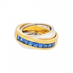 Cartier CARTIER 18K TWO TONE SAPPHIRE DOUBLE BAND RING - 2030174