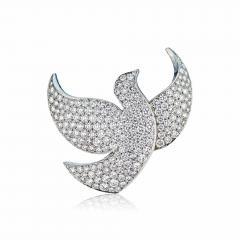 Cartier CARTIER 18K WHITE GOLD DIAMOND PAVE DOVE PIN BROOCH - 1705769