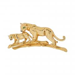 Cartier CARTIER 18K YELLOW GOLD PANTHERE MOTHER AND HER CUB BROOCH - 1965656