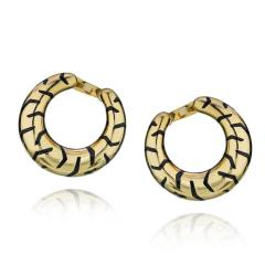 Cartier CARTIER 18K YELLOW GOLD PANTHERE TIGER STRIPE CREOLE STYLE HOOP EARRINGS - 1704892