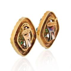 Cartier CARTIER 1960 18K YELLOW GOLD GREEN CABOCHON AND DIAMOND EARRINGS - 1809407