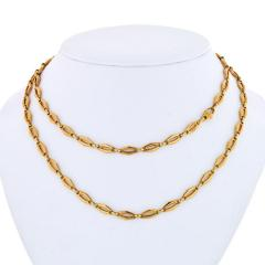 Cartier CARTIER 1970 18K YELLOW GOLD VINTAGE LOGO LONG CHAIN NECKLACE - 1796873