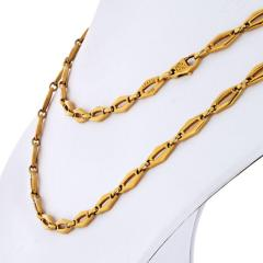 Cartier CARTIER 1970 18K YELLOW GOLD VINTAGE LOGO LONG CHAIN NECKLACE - 1796877