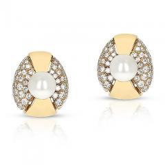 Cartier CARTIER 8MM PEARL AND DIAMOND OVAL SHAPE EARRINGS 18 KARAT YELLOW GOLD - 1954965