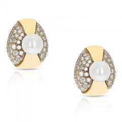 Cartier CARTIER 8MM PEARL AND DIAMOND OVAL SHAPE EARRINGS 18 KARAT YELLOW GOLD - 1954966