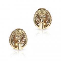 Cartier CARTIER 8MM PEARL AND DIAMOND OVAL SHAPE EARRINGS 18 KARAT YELLOW GOLD - 1954969