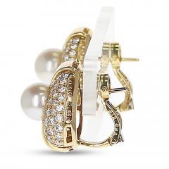 Cartier CARTIER 8MM PEARL AND DIAMOND OVAL SHAPE EARRINGS 18 KARAT YELLOW GOLD - 1954972
