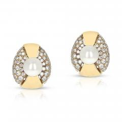 Cartier CARTIER 8MM PEARL AND DIAMOND OVAL SHAPE EARRINGS 18 KARAT YELLOW GOLD - 1955192