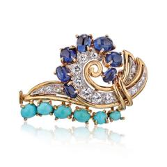 Cartier CARTIER CIRCA 1960S 18K YELLOW GOLD DIAMONDS SAPPHIRE TURQUOISE BROOCH - 1786123