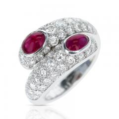 Cartier CARTIER DOUBLE RUBY CABOCHON AND DIAMOND RING WITH PAPERWORK 18K WHITE - 1989709