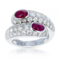 Cartier CARTIER DOUBLE RUBY CABOCHON AND DIAMOND RING WITH PAPERWORK 18K WHITE - 1989711
