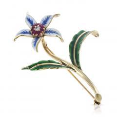 Cartier CARTIER FLORAL PIN BROOCH RUBIES DIAMONDS AND ENAMEL 18 KARAT YELLOW GOLD - 1964983