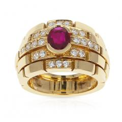 Cartier CARTIER MAILLON PANTHERE DESIGN OVAL RUBY AND DIAMONDS RING 18 KARAT YELLOW - 1964958