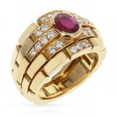 Cartier CARTIER MAILLON PANTHERE DESIGN OVAL RUBY AND DIAMONDS RING 18 KARAT YELLOW - 1964959
