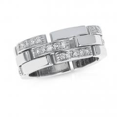 Cartier CARTIER PANTHERE WHITE DIAMOND LINK CHAIN STYLE WEDDING BAND 18K WHITE GOLD - 1954955