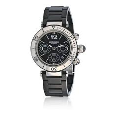 Cartier CARTIER PASHA SEATIMER STAINLESS STEEL CHRONOGRAPH RUBBER STRAP WATCH - 1705098