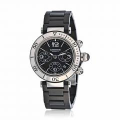 Cartier CARTIER PASHA SEATIMER STAINLESS STEEL CHRONOGRAPH RUBBER STRAP WATCH - 1705810