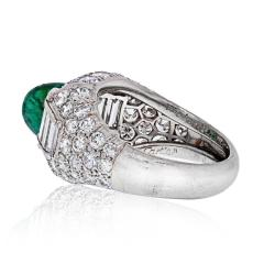 Cartier CARTIER PLATINUM CABOCHON EMERALD AND DIAMOND VINTAGE RING - 2029499