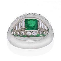 Cartier CARTIER PLATINUM CABOCHON EMERALD AND DIAMOND VINTAGE RING - 2029500