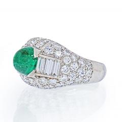 Cartier CARTIER PLATINUM CABOCHON EMERALD AND DIAMOND VINTAGE RING - 2029501