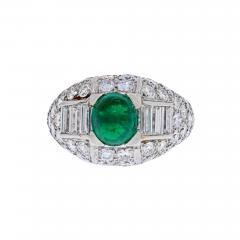 Cartier CARTIER PLATINUM CABOCHON EMERALD AND DIAMOND VINTAGE RING - 2030170