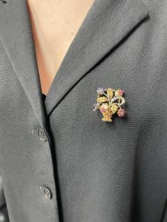 Cartier CARTIER RUBY AND SAPPHIRE FLOWER BOUQUET BROOCH 18 KARAT TWO TONE GOLD - 2077463