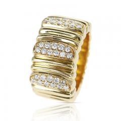 Cartier CARTIER TEXTURED 18 KARAT YELLOW GOLD AND DIAMOND BAND RING - 1989705